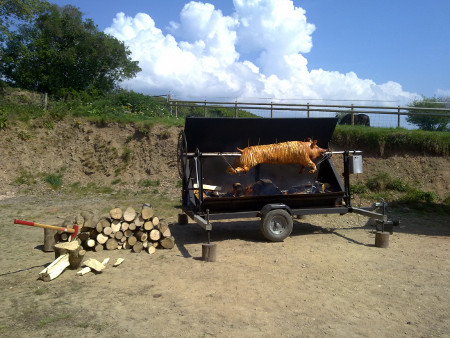 Our hog roasting machine in North Devon